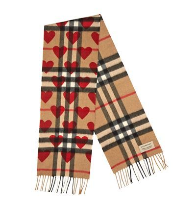 Burberry Cashmere Check and Love Heart Scarf