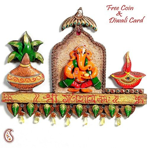 Ganapati Kalash and Diya wood and clay wall décor - Online Shopping for Diwali Pooja Accessories by Apno Rajasthan