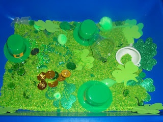 st patricks day sensory table