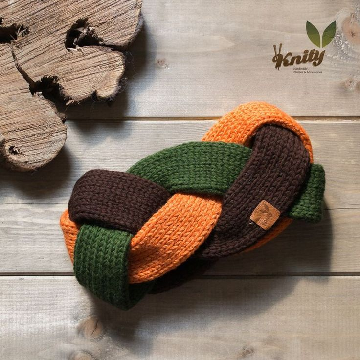 Beautiful woman headband braid three colors, green, orange and brown. Made from merino yarn.