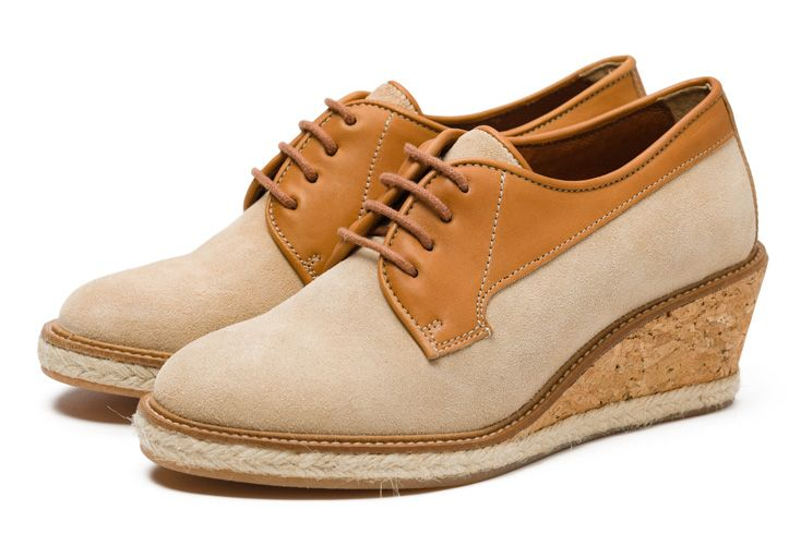 SS12 Pointer Women's Eliza in Camel | Based on a nurse's shoe from the 60's, the 'Eliza' is named after Eliza Mahoney, the first African-American professional, registered nurse. Made from suede & leather with a cork wedge & espadrille detailing, this smart, wedge shoe is contemporary & unique. There are three colourways this season, black, burgundy & camel.