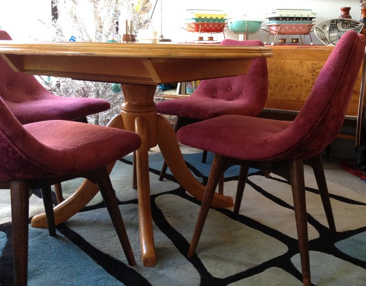 Featherston Contour dining chairs with Pyrex on the sideboard. My happy place :)