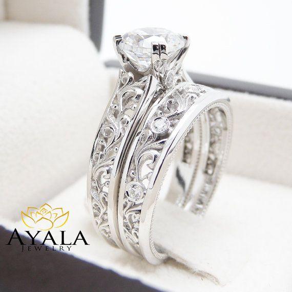 14K White Gold Diamond Bridal Set Unique by AyalaDiamonds on Etsy