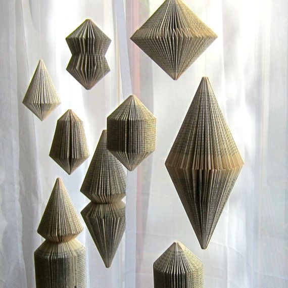 This hanging ornament is folded from a little book. It looks so beautiful hanging in front of the window. comes with a nylon thread for hanging up. The height is 15 cm  Please choose ONE of the 6 shapes on the last foto!  DIY: I made a TUTORIAL for folding 6 different book sculptures, including this one. You can find it here: https://www.etsy.com/listing/118198535/last-minute-diy-tutorial-for-folded-book   ******SHIPPING COSTS for multiple purchase: Since the shipping cost depends on size…