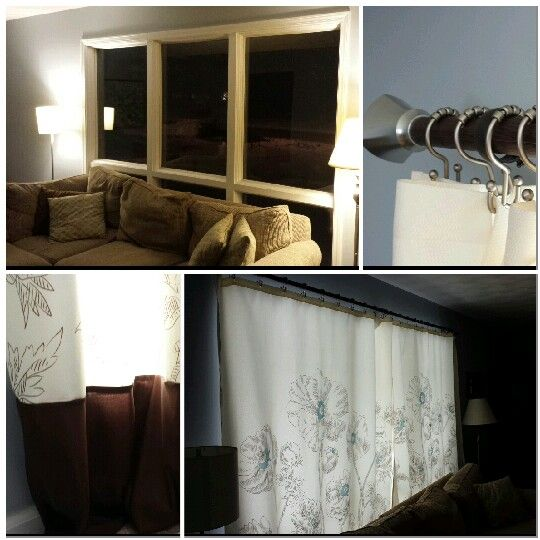 two shower curtains from Target, a regular curtain rod, shower curtain ...