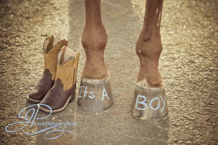 Baby announcement with horse hooves and boots By: Impulse Photography