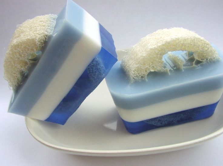 Blue Jack Frost Loofah Soap, handmade by Sunbasil Garden Soap