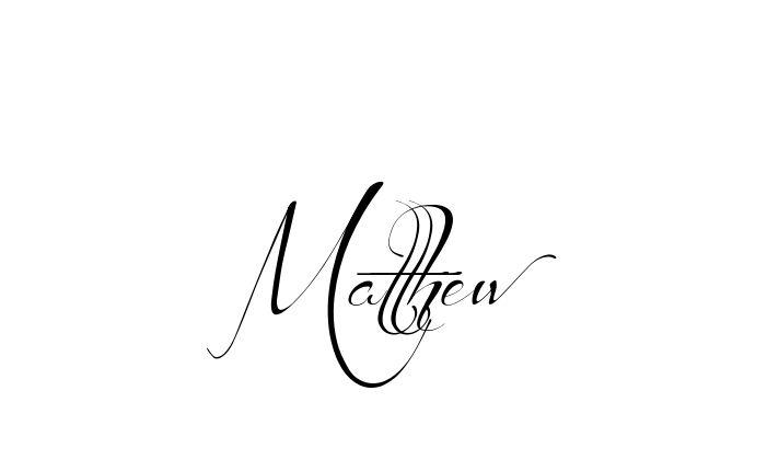 Tattoo Name Matthew using the font style Before the Rain Regular