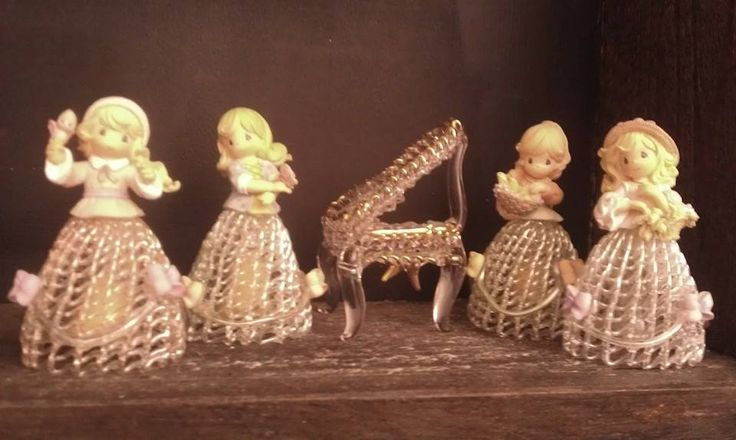 Presious Moments Glass/porcelain bell dolls  Four seasons for what they stand for all in excellent condition no cracks no breaks no chips  very detailed  The Piano i will throw in as a gift if you buy these