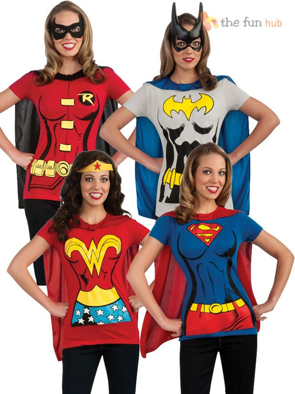Superhero Ladies T Shirt & Cape Hen Night Women's Fancy Dress Costume Size 8- 22