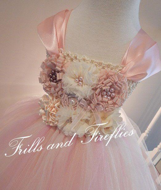 Blush Flower girl dress, Shabby Chic Tutu Dress Blush Cotton Flowers - Blush Tulle Skirt, 12-24 Mo, 2t, 3t, 4t, 5t, 6, 8, 10, 12