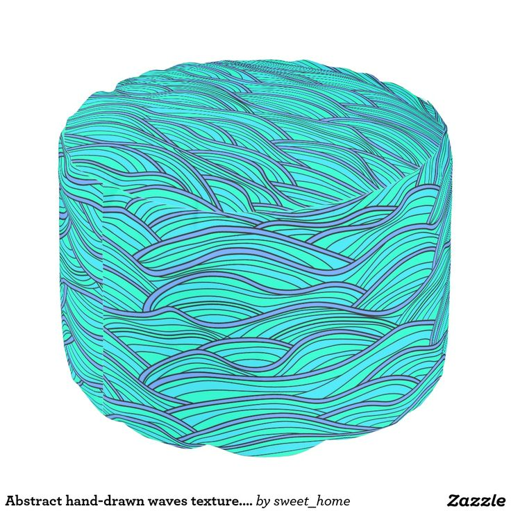 Abstract hand-drawn waves texture. Sea background. Round Pouf