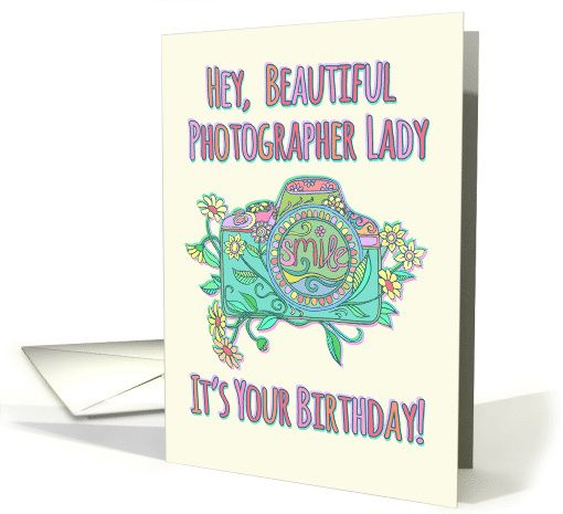 Happy Birthday, beautiful photographer, cute camera illustration card
