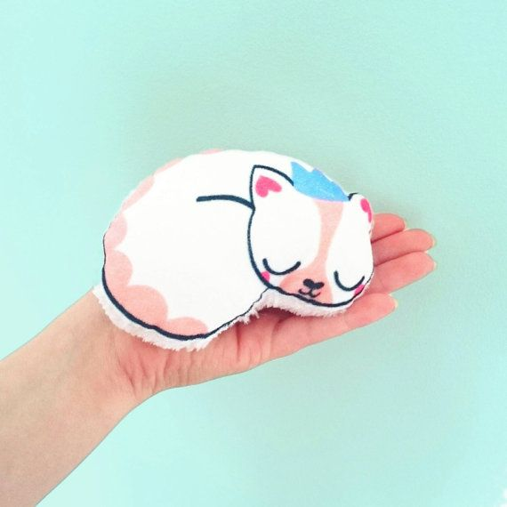 Super soft min pink sleepy cat toy. by meganmcnultyshop on Etsy