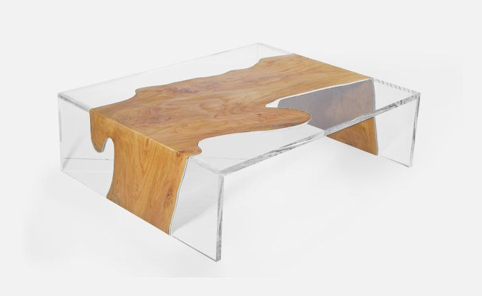 Contemporary Lucite Furniture Designers Table With Unique Combination Of Wood And Acrylic