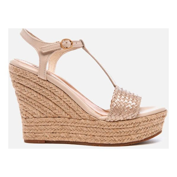UGG Women's Fitchie II T-Strap Jute Wedged Espadrille Sandals - Soft... ($100) ❤ liked on Polyvore featuring shoes, sandals, gold, ugg sandals, gold wedge sandals, braided sandals, metallic sandals and gold wedge shoes