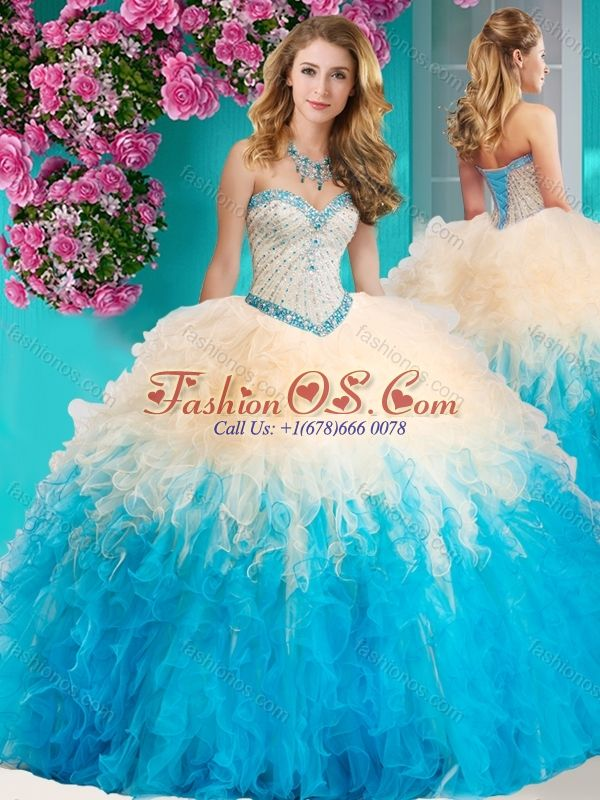 250fcbf400c The Super Hot Gradient Color Big Puffy Quinceanera Dress with Beading and  Ruffles