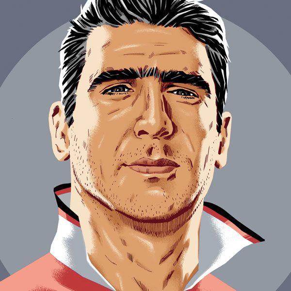 Eric Cantona, collar up, wearing classic 1993 lace neck Man United shirt. https://www.etsy.com/uk/listing/167033426/eric-cantona-manchester-united-portrait?ref=shop_home_active_21