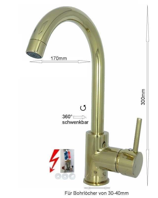 Hohe Niederdruck Spültischarmatur Küchen Armatur C Gold Design | Küchenarmaturen |Badarmaturen-Welt.de