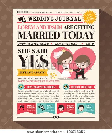Cartoon Newspaper Journal Wedding Invitation Vector Design Template - stock vector