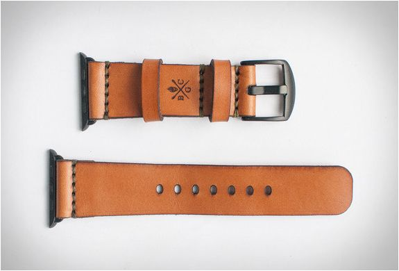 Give your Apple watch a vintage feel with this stylish leather strap by Bexar Goods, a small team of craftsmen based in Bexar County, Texas. Crafted from 4 ounce American Bridle Leather, the elegant watch strap is saddle stitched and ages beautifully
