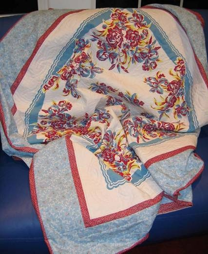 Great Quilted Vintage Tablecloth