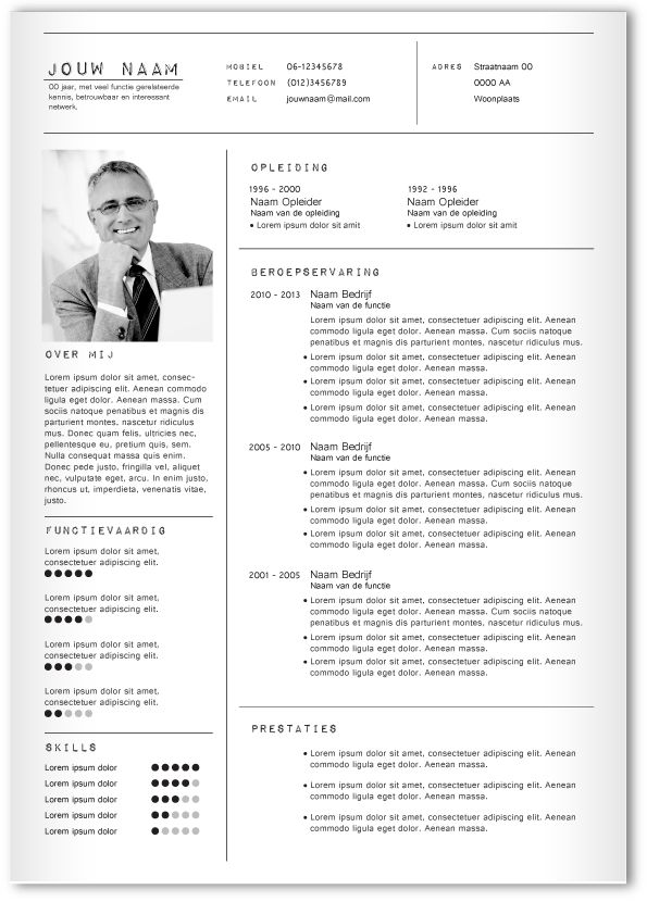 CV design 323. Gebruik dit CV ontwerp om je eigen CV te laten pimpen.