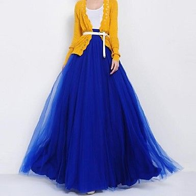 Women's Mesh Bow Swing Skirt paired with a yellow cardigan... yes!