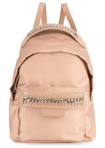 """Eco Nylon Falabella Go Backpack by Stella McCartney. Stella McCartney eco nylon """"Falabella Go"""" backpack. Signature curb chain trim with whipstitching. Adjustable flat bac..."""