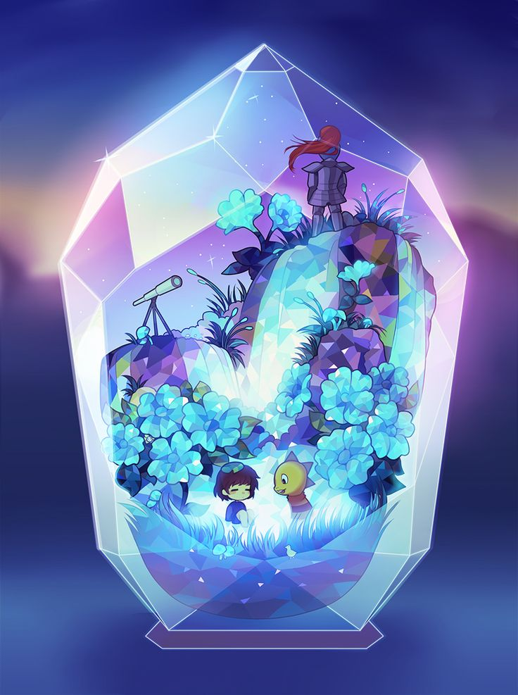 """raggidiprimavera: """" A terrarium artwork inspired by the waterfall area in Undertale. I'm really hoping to do terrariums for the other areas as well~ """""""