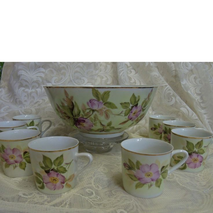 Antique Hand Painted Victorian China Punch Bowl With Eight Cups by Vintageartshome on Etsy