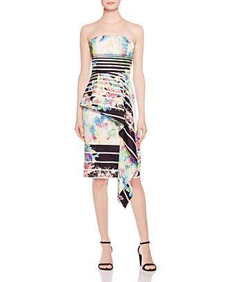 Black Halo Blythe Strapless Ruffle Dress