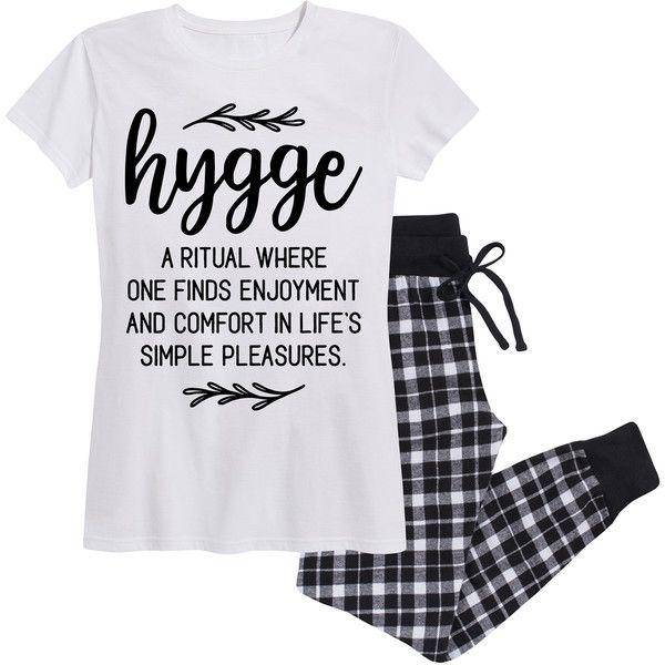 Women's Airwaves LLC Women's Cozy Flannel Jogger Sets 2X Hygge... ($30) ❤ liked on Polyvore featuring intimates, sleepwear, pajamas, lounge & sleepwear, white, flannel pjs, flannel sleepwear, short sleeve pajamas, white pajamas and flannel pajamas