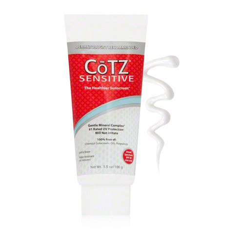 CoTZ Sensitive Sunscreen SPF 40 - The formula features a Gentle Mineral Complex, which helps prevent heat build-up in the skin that can cause premature aging and age spots.  DermStore