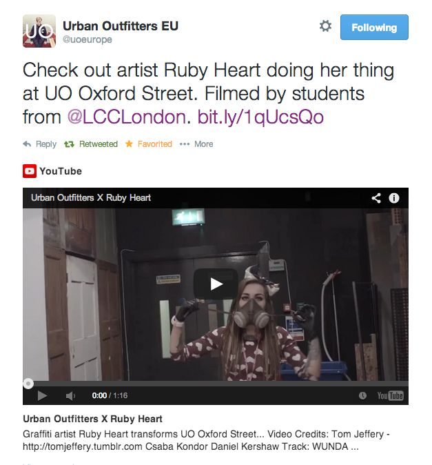 LCC Students film artist, Ruby Hart, doing her thing for Urban Outfitters.