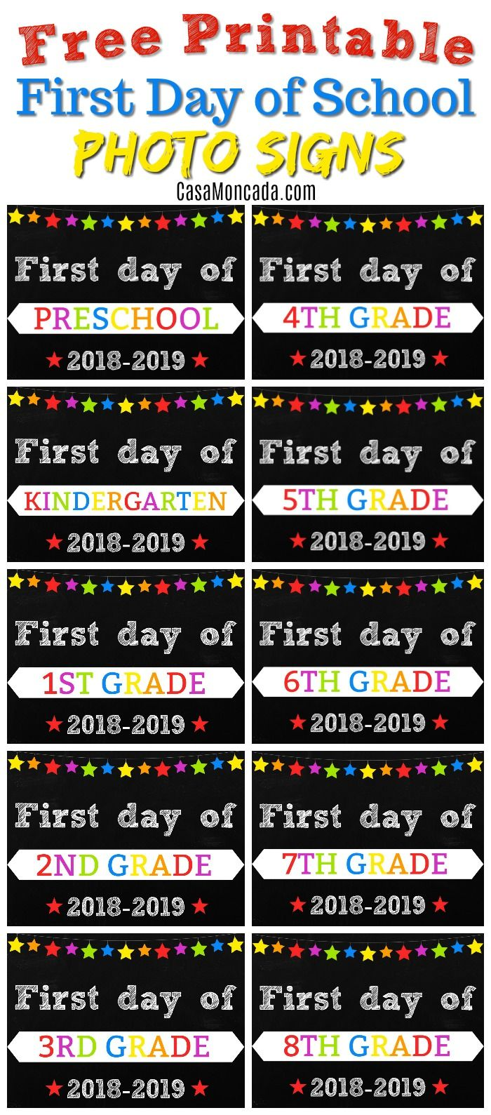 image about First Day of 1st Grade Printable titled Free of charge Printable To start with Working day of College Indicators Again in the direction of College