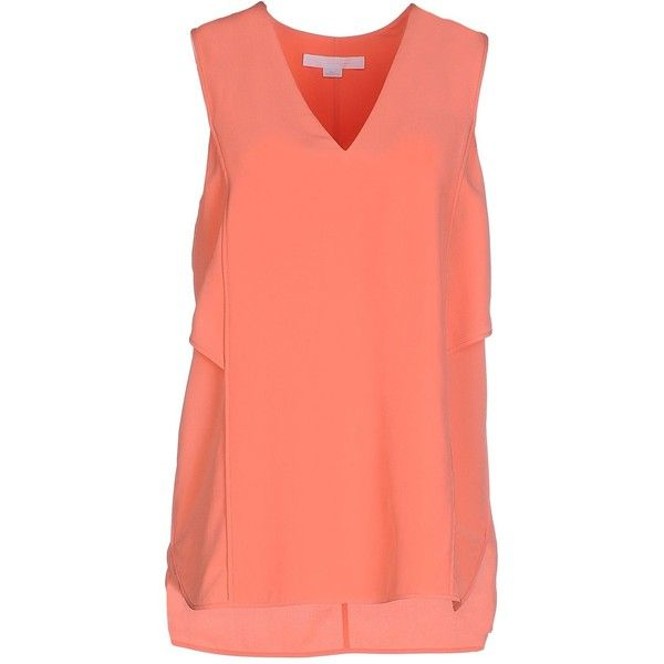 Alexander Wang Top (545 PEN) ❤ liked on Polyvore featuring tops, coral, alexander wang, v neck tops, red sleeveless top, alexander wang top and red top