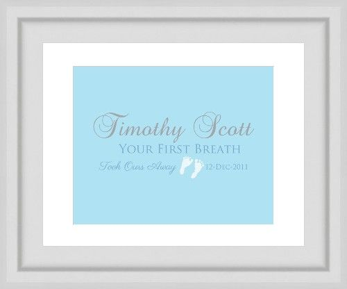 Newborn Baby Gift. Your first breath. Image customized with name and date. Gumball Prints. We create. You print & frame.
