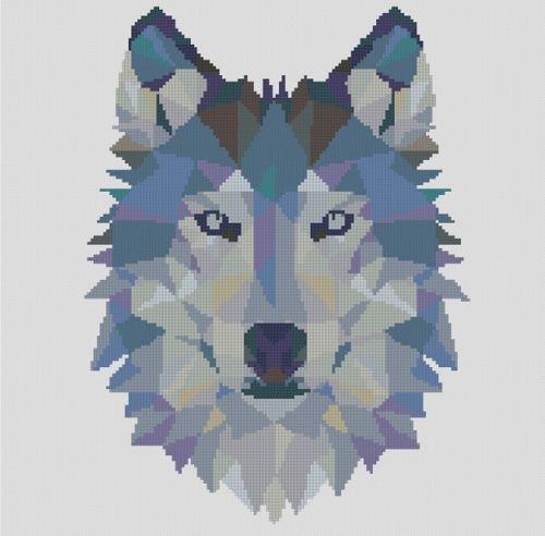 Gezaehlter-kreuzstich-Muster-oder-Set-Tier-Geometrisch-wolf-Wolf-Kreuzstich