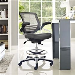 Contemporary Gray Mesh Drafting Chair With Flip Up Arms And Foot Ring 15999 ChairOffice ChairsBlack