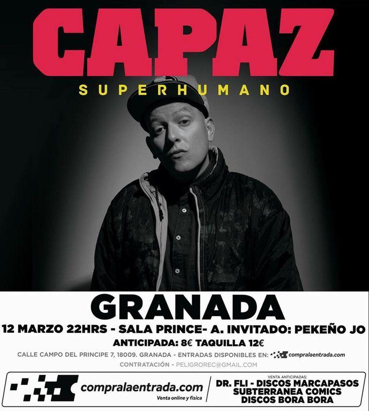 Siguiente cita de la gira de conciertos de #Superhumano en directo: este finde en Granada.  #salaprince #granada #capaz #djsin #bighozone #rap #hiphop #rapespañol #hiphopespañol #musica #concierto #directo