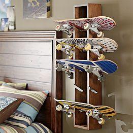 Skateboard rack--boy's room