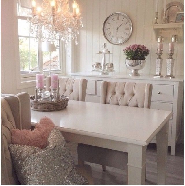dining room with white table upholstered chairs crystal chandelier - Dining Room Inspiration
