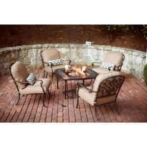 Hampton Bay Edington 5 Piece Fire Pit Patio Chat Set With Textured Umber Cushions 131 012 5fsr