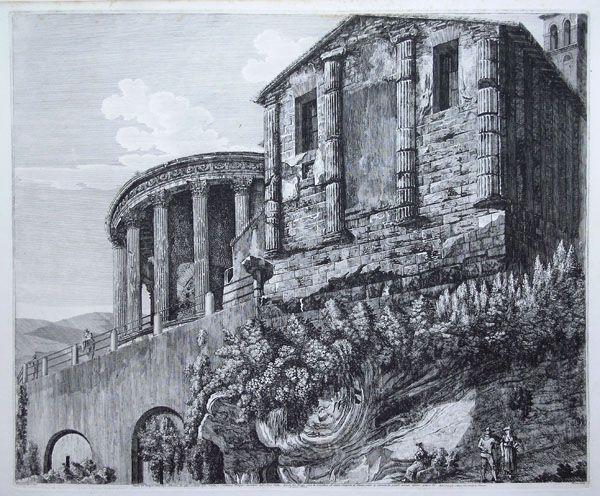 Veduta del Tempio della Dea Albunea,da altri creduto della Sibilla,e annesso Tempio circolare della Dea Vesta