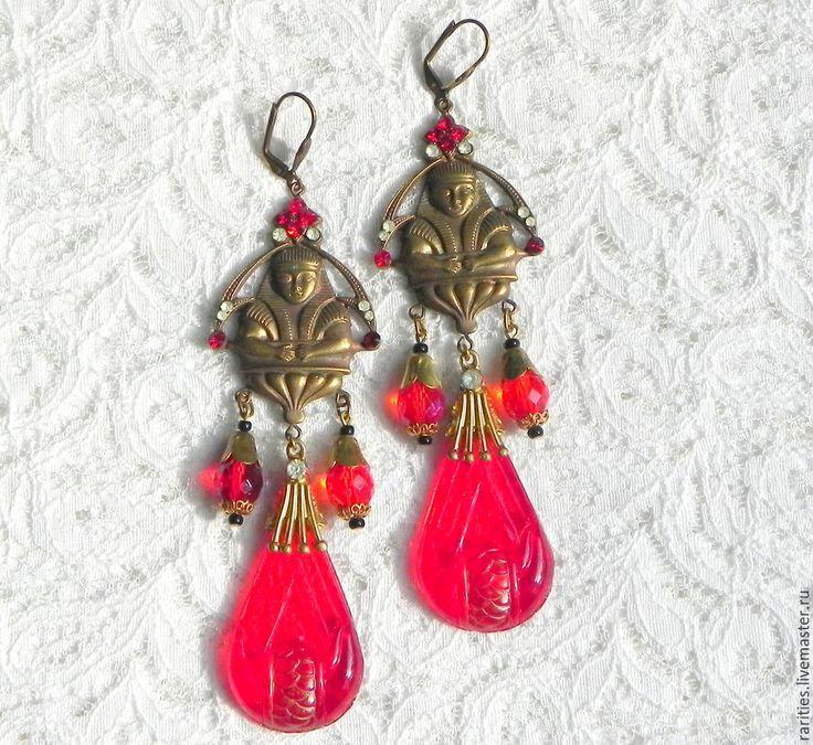 Купить Антикварные серьги Фараоны,богемское стекло,Чехия,с клеймом,подарок - антиквариат, антикварные украшения