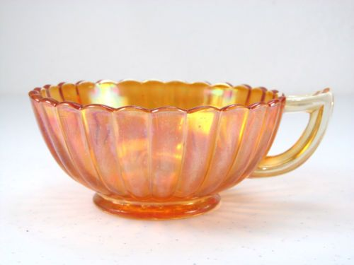 Marigold Iridescent Carnival Glass Ribbed Handled Nappy / Large Cup