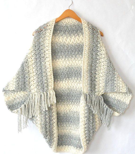 Modèle de pull au crochet facile de Cacoon, crocheté modèle haussement d'épaules, gel léger pull, couverture pull modèle de Crochet, Crochet gris