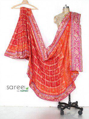 Orange and Red Gaji Silk Saree with Cutdana and Stone Work