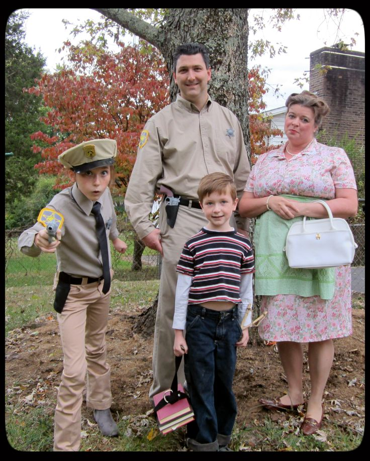 Halloween 2013 - Family Costume - Andy Griffith Show - Sherriff Andy Taylor and his son Opie, Aunt Bee and how could we leave out Deputy Barney Fife; DIY Costumes; Thrift Store Costumes